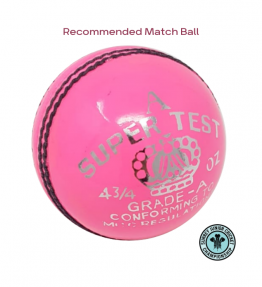 PRE-ORDER - AJ Super Test Grade A Cricket Ball (5.5 & 4.75 ozs)<br> <span style='color:grey'>RRP: <span style='color:red;text-decoration:line-through'> <span style='color:grey'>£12.00</span> </span>